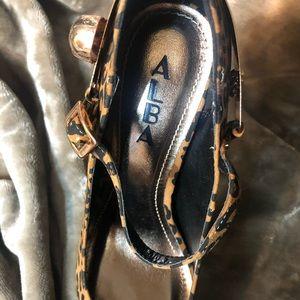Alba Shoes - Skull Rhinestone Leopard Mary Jane